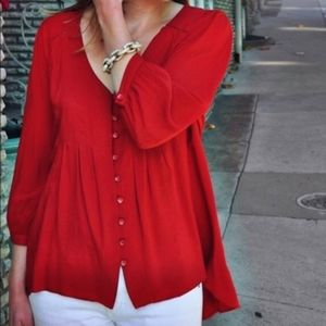 Anthropologie Red Button Front Pin Tuck Top
